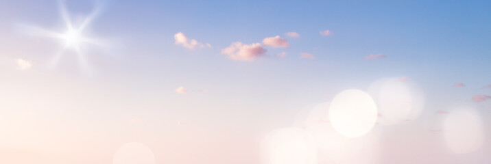 Blue Sky Panorama - XXL Banner or Background with Sun and Bokeh