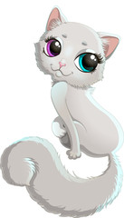 Charming white cat with blue and violet eyes and bushy tail sitting in yoga pose. Vector illustration of cute cat cartoon isolated on white background. Cat cartoon character