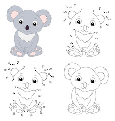 Cartoon koala. Coloring book and dot to dot game for kids