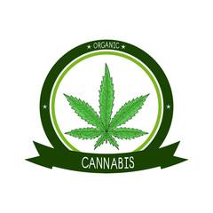Cannabis. Sheet. Sketch. Color. Emblem, logo, sticker.