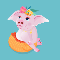 Cute pig sit squat on the floor in a polite attitude,wearing necklace and decorate flower on head, on blue background.