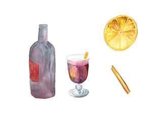Watercolor mulled wine with dry orange and stick of cinnamon