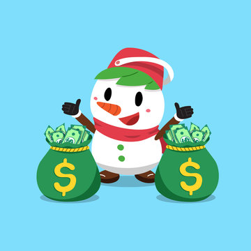 Vector cartoon christmas snowman with money bags