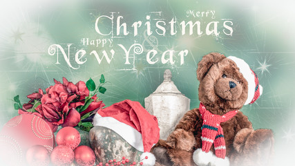 Merry Christmas and Happy New Year's card with teddy bear and other decorations.