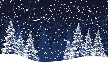 vector winter christmas background with pine trees and snow
