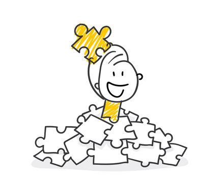 Strichfiguren / Strichmännchen: Puzzleteil, Lösung. (Nr. 336)