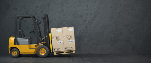 Wall Mural - Forklift truck with cardboard boxes on  dirty wall background.