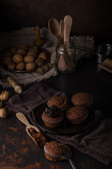 Homemade chocolate muffins with chocolate topping