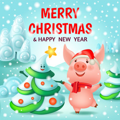 Chinese new year 2019. Dance pig and fir-tree. 3d vector cartoon illustration.