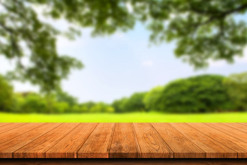 Empty wooden table isolated on blurred green nature background. For your product placement or montage with focus to the table top in the foreground. Empty wooden brown shelf. shelves