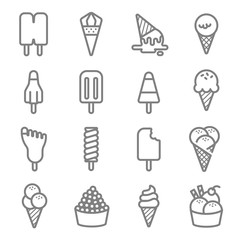 Ice Cream Vector Color Line Icon Set. Contains such Icons as Cone, Popsicle, Soft serve and more. Expanded Stroke