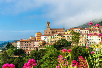 Wall Mural - Panoramic view over Rio nell`Elba in Elba Island, Tuscany, Italy.