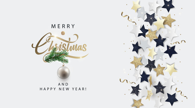 Christmas white banner, invitation, card or flyer. Holiday design with metallic lettering, black, gold and white stars, christmas ball,  tinsel and confetti. Winter festive decoration. Vector eps10