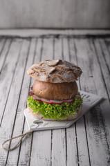 Portobello burger, homemade bun and lettuce