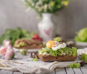 Homemade avocado poached egg sandwich