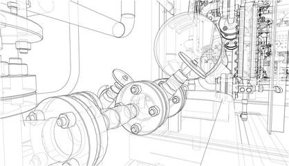 Sketch of industrial equipment