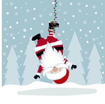 Funny Christmas illustration with hanging Santa