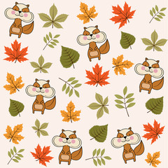 autumn seamless pattern with leaves and squirrels