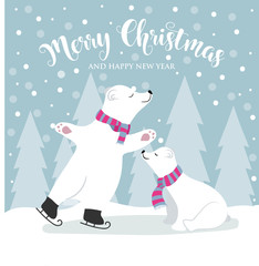 Cute flat design Christmas card with polar bears and wishes