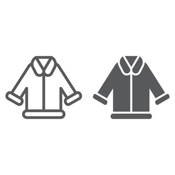 Fur cleaning line and glyph icon, laundry and service, coat sign, vector graphics, a linear pattern on a white background.