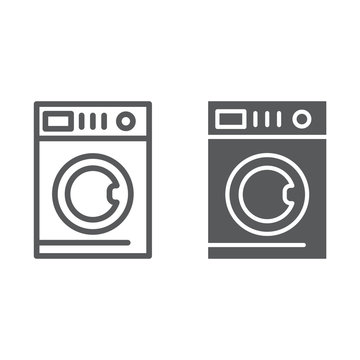 Car washing line and glyph icon, laundry and clean, washing machine sign, vector graphics, a linear pattern on a white background.
