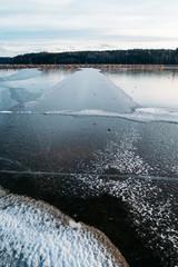 Beautiful blue ice on the winter lake