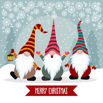 Christmas card with funny gnomes