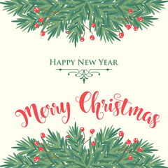 Christmas card with tree branches and wishes