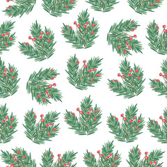 Christmas seamless pattern with tree branches and holly berries