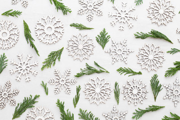 Christmas composition. Gifts, stars  decorations on white background. Christmas, winter, new year concept. Flat lay, top view, copy space.