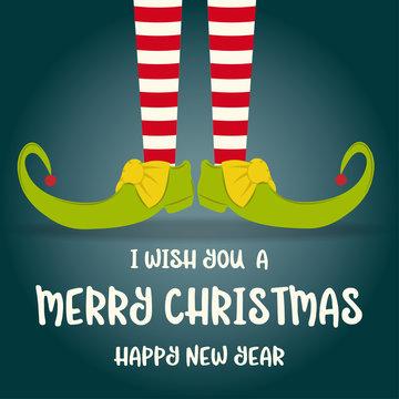 Christmas card with elf legs