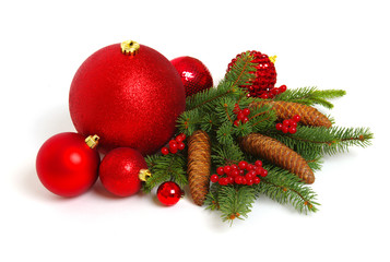 Christmas decoration baubles with branches of fir tree