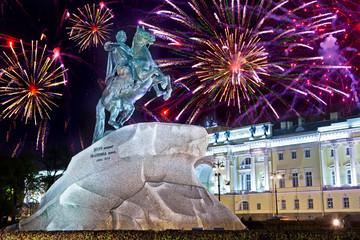 Aluminium Prints Historic monument Russia. Petersburg. Monument to tsar Peter 1,