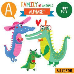 Letter A-Mega big set.Cute vector alphabet with family of animals in cartoon style.
