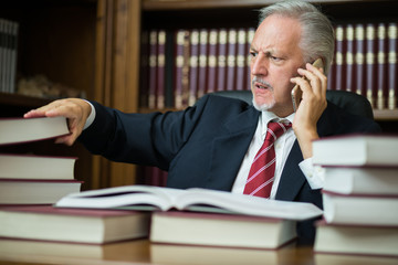 Businessman taking a book while talking on the phone