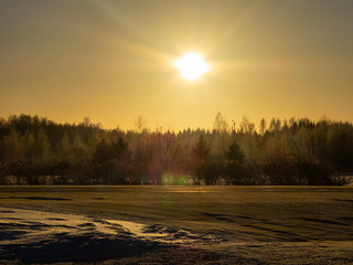 Sunrise on winter at Finland