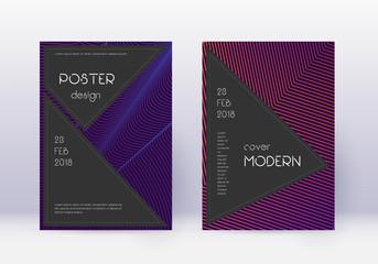 Black cover design template set. Violet abstract l