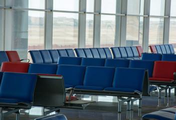 Modern airport terminal waiting room, nobody