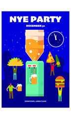 New Year Eve Party vector poster template. Poster for entrance to the party. Modern elegant illustration template