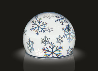 Christmas globe in the snow 3d