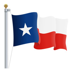 Waving Texas Flag Isolated On A White Background. Vector Illustration. Official Colors And Proportion. Independence Day