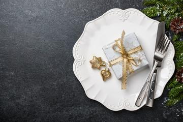 Christmas table setting background