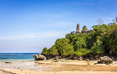 Pura temple on Geger beach on Bali island