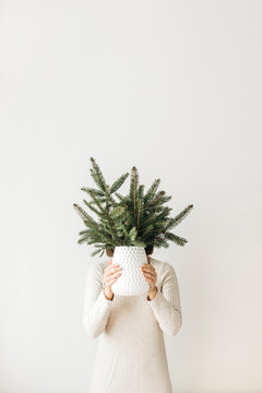 Fir branches bunch in female hand on white background. Winter / New Year / Christmas concept.