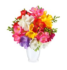 Bouquet of spring flowers in white vase isolated on white background