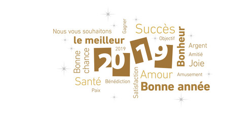 Happy New Year 2019 negative space French language cloud text gold white silver vector