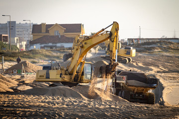 Excavator at the Beach