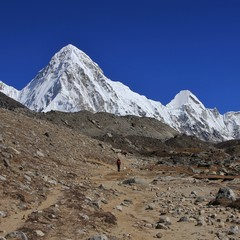 Mountain landscape on the way to Everest base camp. Mount Pumori.