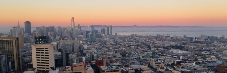 Beautiful Dusk Light San Francisco California City Skyline USA