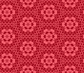 Seamless hexagonal pattern from circular abstract floral ornaments in in crimson color on red background. Vector illustration. Suitable for fabric, wallpaper and wrapping paper